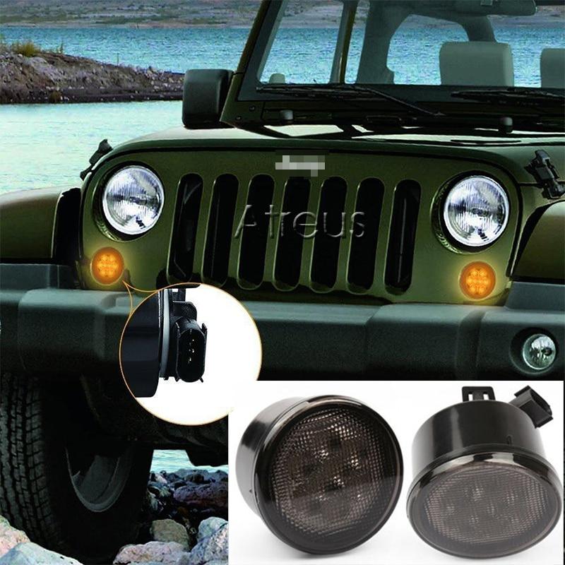 Jeep Wrangler JK 2007-2015 üçün kəhrəba aksesuarları LED yan - Avtomobil işıqları - Fotoqrafiya 3