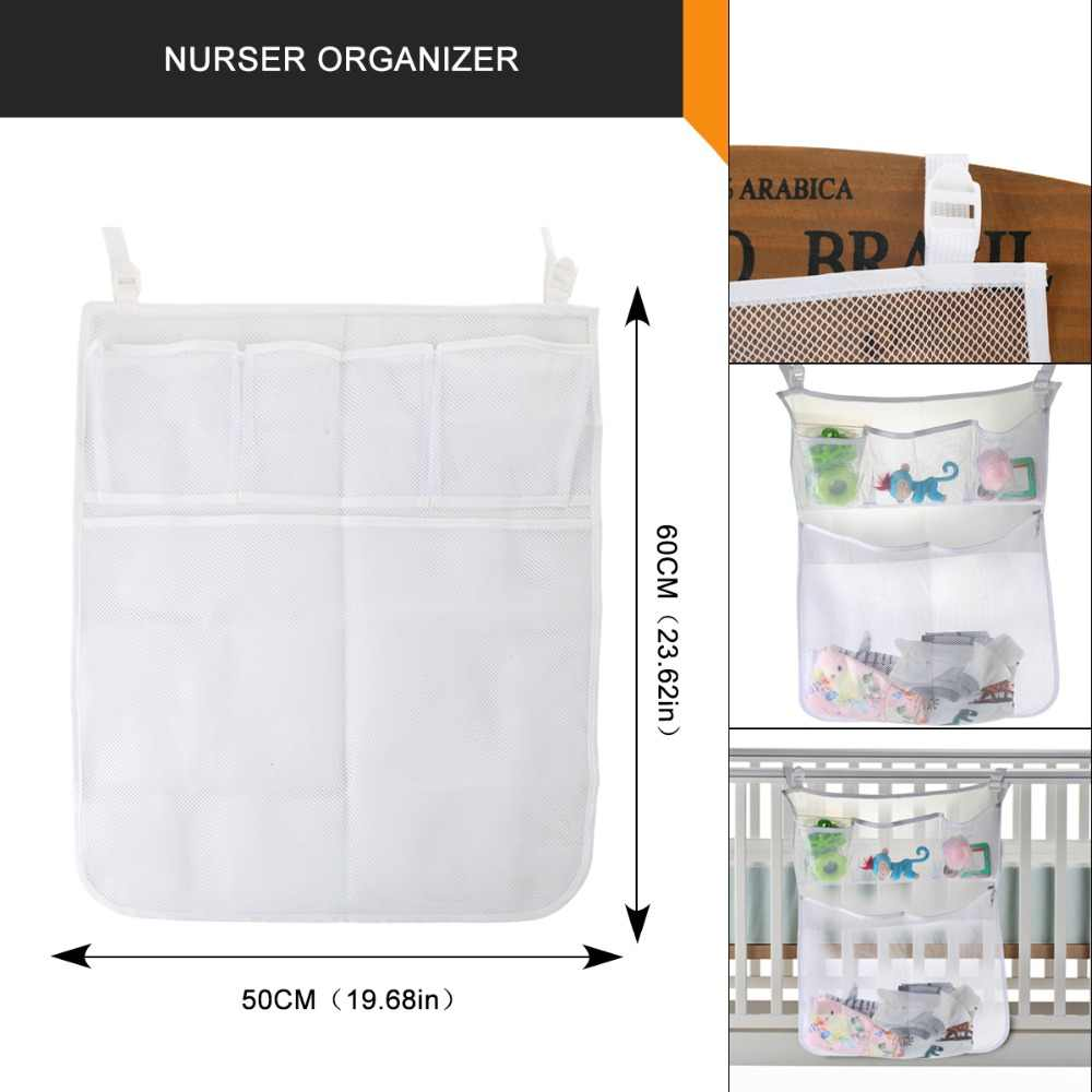 Bedding Storage 2pcs Set Baby Bed Hanging Diaper Organizer Storage Bag Baby Cot Bedding Crib Toy Pocket Mesh Set Cradle Accessories