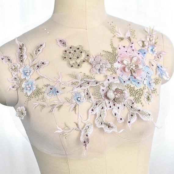 Pastel blue lace applique, heavy bead 3D applique with rhinestones, bridal 3d floral, flower
