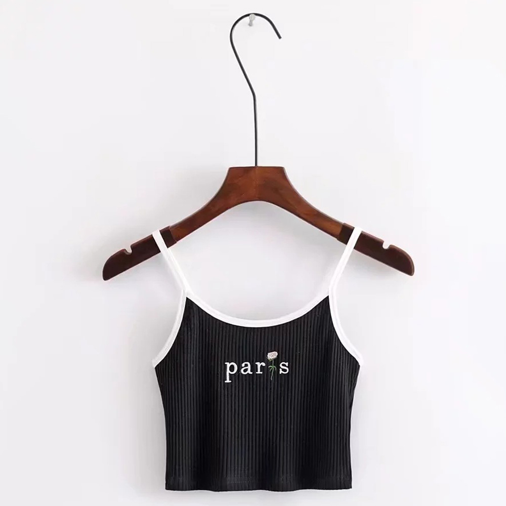 FIRSTTO Sexy Letter Floral Embroidery Fitness Slim fit Tight Sling Camis Tops Knitted Ribbed Striped Line Short Crop Tee 6 Color
