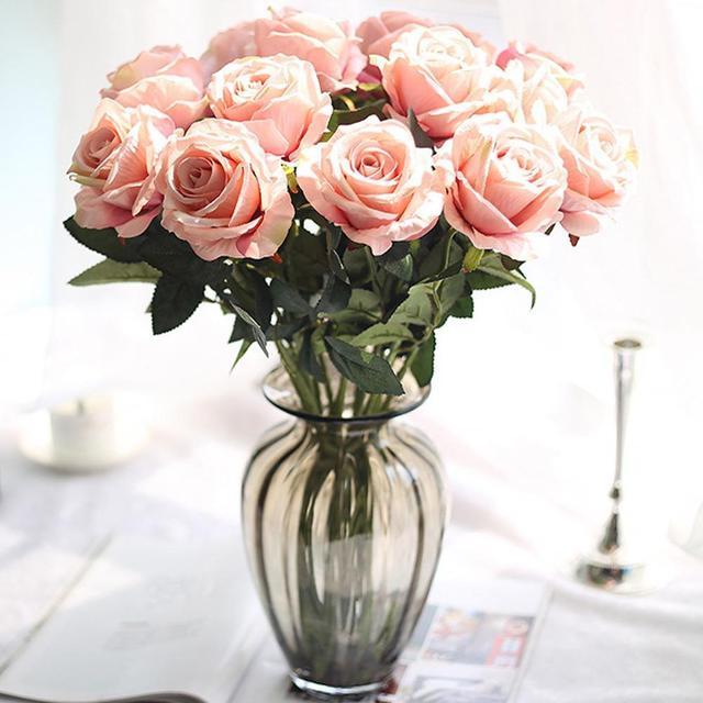 5color fashion 12head artificial fake roses silk flower wedding home