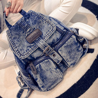 2017 Spring Summer Woman Casual Backpacks Denim Girl S School Bags Jean Shoulder BAG B018 Mochila