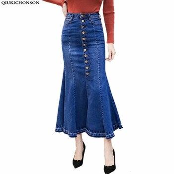 high waist denim skirt bodycon women 2018 korean fashion vintage pencil skirt single breasted long summer skirt mermaid skirt
