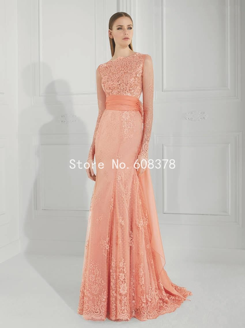 Coral Color Tulle Lovely Lace Applique Long Prom Dress Long Sleeve ...