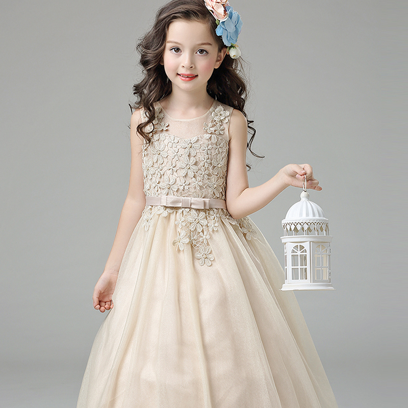 Luxury Embroidery Floral Lace Pierced Prom Party Kids Dress For Girls Fashion 2017 Sweet Princess Wedding Flower Girls Dress P91 цена