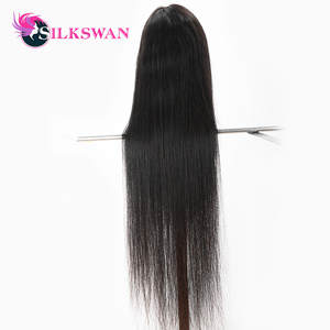 Wigs Human-Hair Silkswan Natural-Color Straight Brazilian 30-40inch Preplucked Full-End