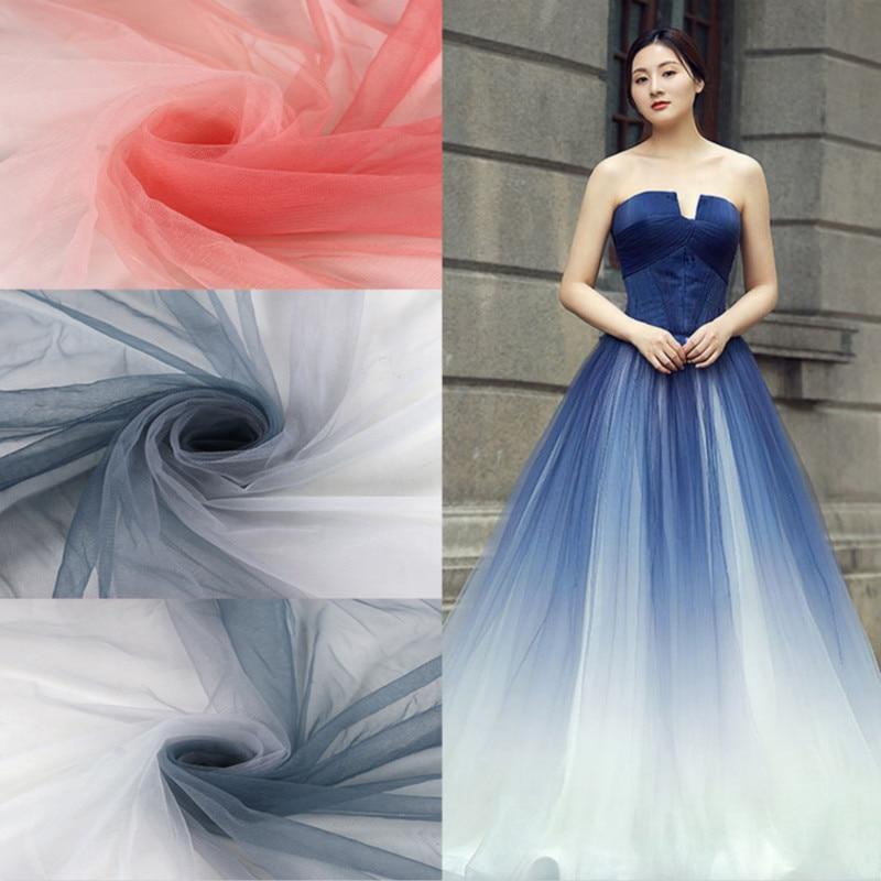 3yards/lot Gradient Printed Mesh Fabric Children's Wear Dress Wedding Performance Clothing Fabric Summer Fabric