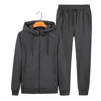 Spring Autumn Men's Sporting Suit Sets Jacket Pants Sportswear Two Piece Set  Men Zipper Hooded Tracksuit 6XL 7XL 8XL Wholesale