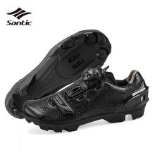 Santic samoblokujące obuwie rowerowe męskie oddychające buty rowerowe buty na rower górski czarne konna trampki Zapatillas Ciclismo tanie tanio Dla dorosłych Syntetyczny Średnie (b m) Lace-up Cycling Shoes S12025H Pasuje prawda na wymiar weź swój normalny rozmiar