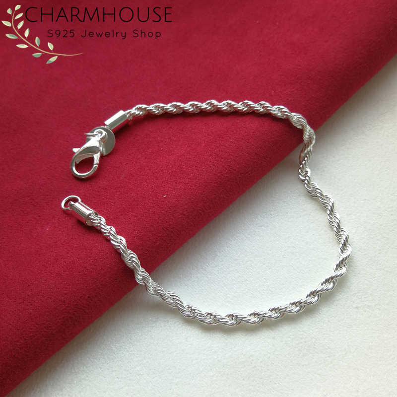 Solid Silver 925 Bracelets For Women 3mm Twisted Link Bracelet Bangles Wristband Pulseira Wedding Bridal Jewelry Bijoux Gifts