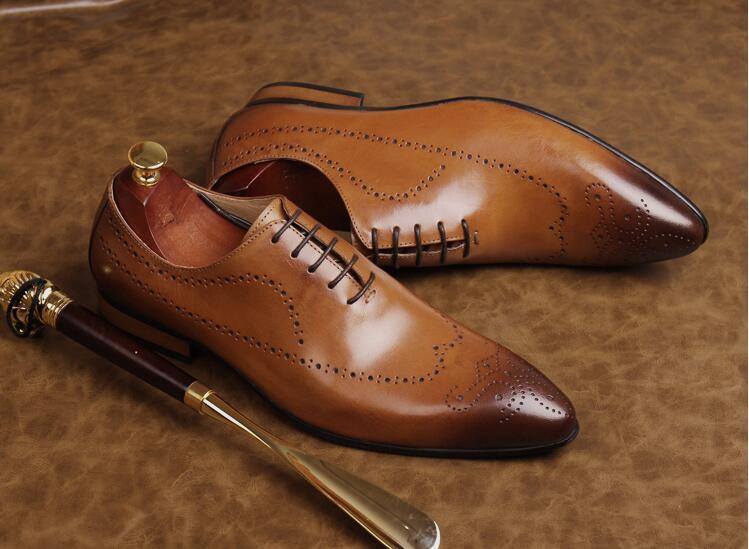 Vintage Schuhe Leder Kleid Zunehmende orange Zehen Handgemachte Höhe Smart Schwarzes Echtes Brogue Spitzen Oxfords Geschnitzte Casual Männer rot xI7AR5wRq