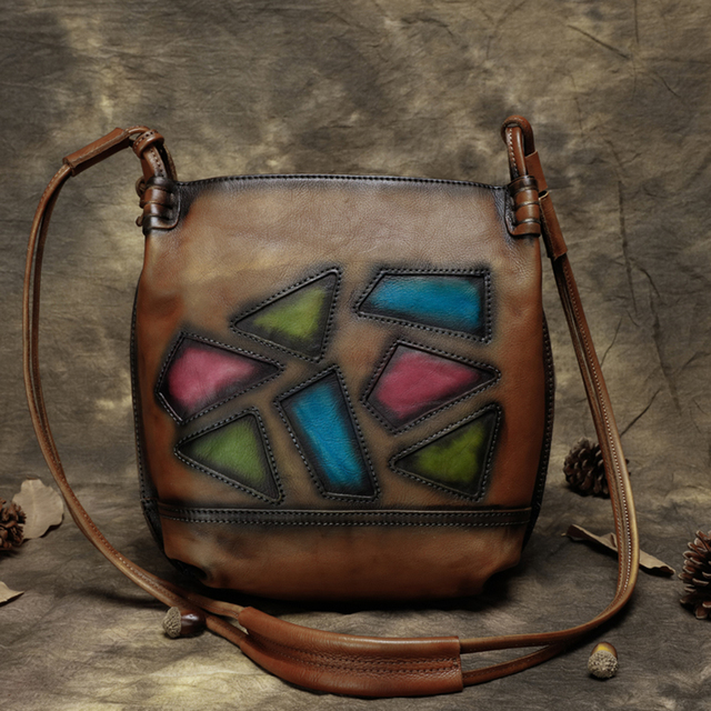 2017 Women Handbag Genuine Leather Vintage Shoulder Messenger Bag Handmade Cow Leather Bags Women Geometric Design Crossbody bag