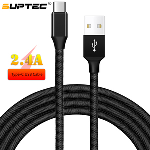 SUPTEC USB Type-C Cable USB Type C 2.4A Fast Charging Data Cord for Samsung S8 S9 Note Xiaomi Huawei P20 Mate 20 Meizu Oneplus