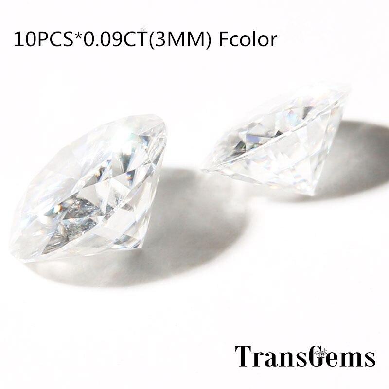 TransGems 10pcs White Moissanite Loose Gem Stones Round Brilliant Cut 3 mm 0 09 Carat Near