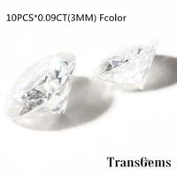TransGems 10pcs White Moissanite Loose Gem Stones Round Brilliant Cut 3 mm 0.09 Carat Near Colorless F