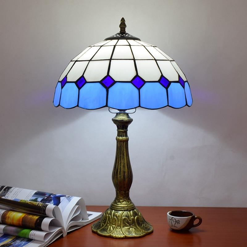 ODIFF European Blue Mediterranean Sea bar lighting Living room dining Bedroom bedside lamp stained glass Desk Lamp E27 LED