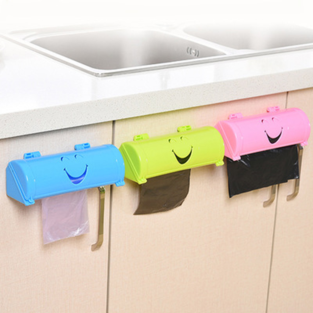 Candy Color Home Eco-friendly Smile Face Garbage Bags Storage Box Kitchen Paste Type Plastic Container