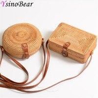 Wood Color Handmade Round Rattan Bag Summer Beach Straw Bags for Women Shoulder Bags Cross Body Bag Square Bohemia Handbags Bali