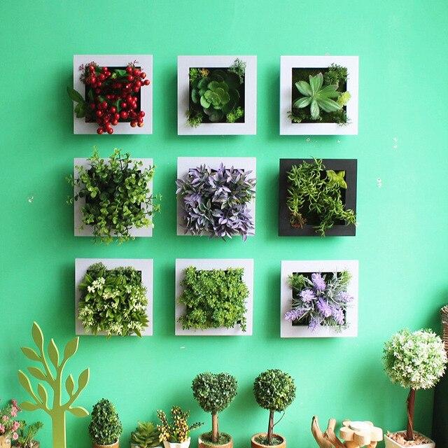 3D Creative metope plantas suculentas imitación de madera Marco de ...
