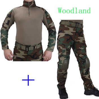 Camouflage de chasse BDU tenue de Combat en bois chemise met Broek en forme de coude et genouillères uniforme de cosplay militaire déguisement jacht