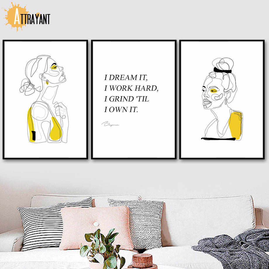 Abstract Women Girl Geometric Line Drawing Nordic Posters And Prints Wall Art Canvas Painting Wall Picture For Living Room
