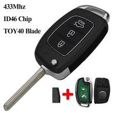 jingyuqin 3 Buttons Remote Car Key Shell Fob Blade 433Mhz With ID46 Chip TOY40 for Hyundai New IX35 IX25 IX45 Elantra Santa Fe цена 2017
