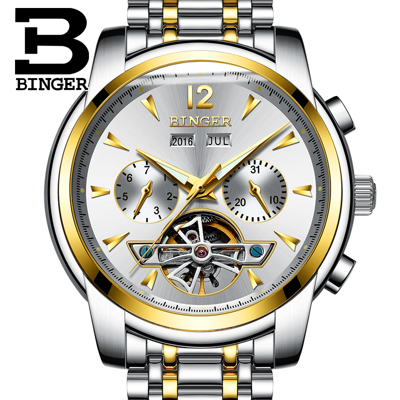 binger new number sport design bezel golden watch mens watches top brand luxury montre homme. Black Bedroom Furniture Sets. Home Design Ideas
