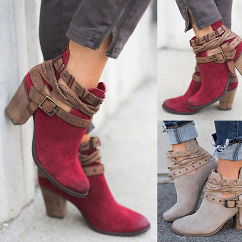 KHTAA Women Buckle Ankle Boots Ladies Zip Autumn Gladiator Fashion High Heels Female Rivet Plus Size Chunky Heels Style Shoes все цены