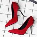 Flor de Metal Mulheres Sapatos de Salto Bombas de camurça de Salto Alto Mulheres Maduras Bombas de trabalho Senhora do Escritório bombas de Primavera/Outono sapatos de festa