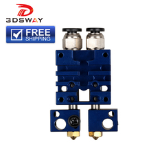 3DSWAY 3D Printer Parts Improved E3D Chimera 2 In Out Hotend Kit Multi-extrusion Dual Heads Extruder Blue Color 0.4mm/1.75mm