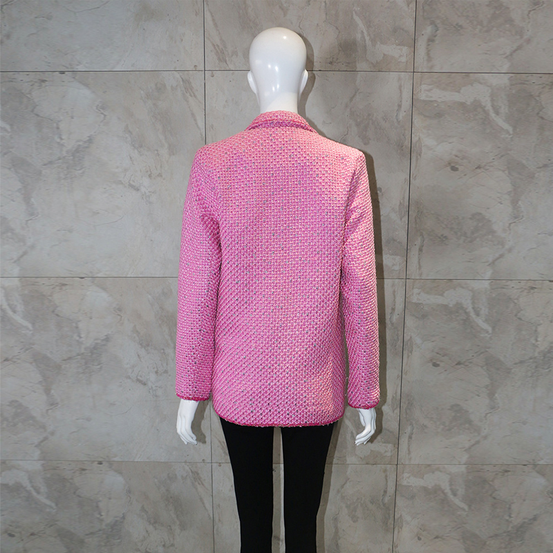 2019 Vintage Tweed Pink Women's Jacket Blazer Coat Double Breasted Diamonds Outerwear Female Long Sleeve Office Blazer Feminino
