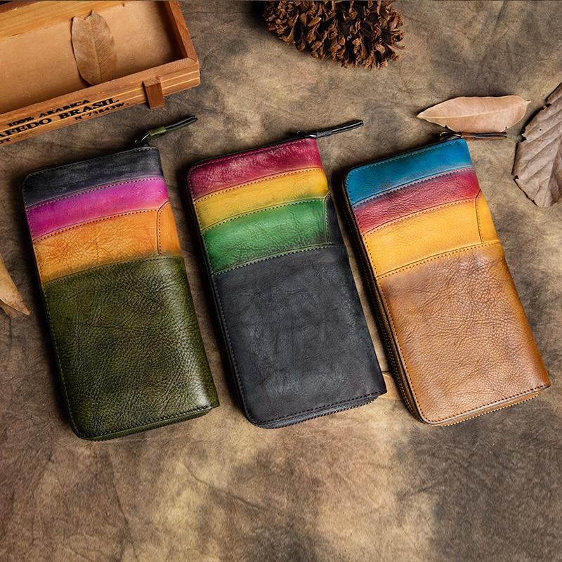 Prawdziwa skóra retro kobiety portfele 2019 najpóźniej torebka pani monety komórek etui na telefon ręcznie robione skórzane portfel Bifold z okna ID w Portfele od Bagaże i torby na  Grupa 3