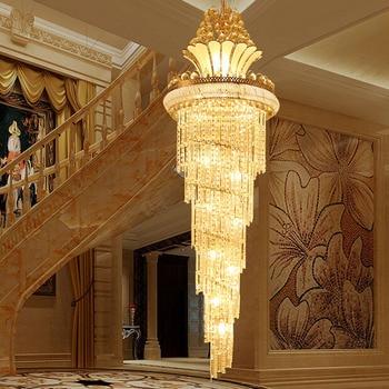 LED Modern Luxury Villa Hotel Besar Teknik Langit-langit Kristal Emas Cahaya Eropa Style Foyer Lampu Ruang Tamu DHL Gratis