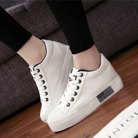2017 Spring Autumn Newest Trend Women Canvas Shoes Height Increasing Female Flatform Shoes Lace Up Women