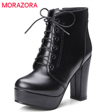 MORAZORA بالجملة حجم كبير 34 48 حذاء من الجلد للنساء سستة كعوب عالية على الموضة الأحذية الخريف الشتاء منصة الأحذية الإناث