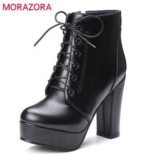 Image 1 - MORAZORA wholesale big size 34 48 ankle boots for women zipper fashion high heels boots autumn winter platform boots female