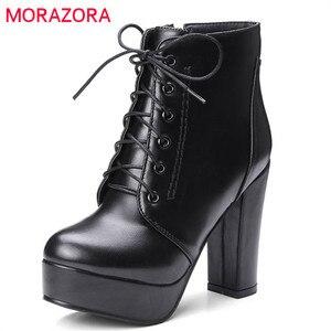 Image 1 - Morazora Groothandel Big Size 34 48 Enkellaars Voor Vrouwen Rits Mode Hoge Hakken Laarzen Herfst Winter Platform Laarzen vrouwelijke