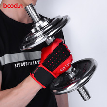 BOODUN Men Women Gym Gloves Extended Wristband Fitness Gloves Bodybuilding Weight Lifting Dumbbell Barbell Workout Sport Gloves oem gym weight lifting leather xrossfit training barbell pull up hand grip workout sport bodybuilding fitness hand gloves