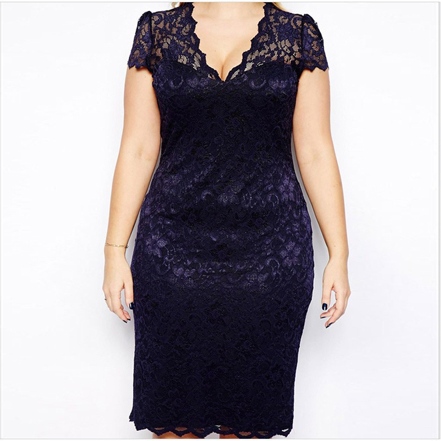 f453e2781927c Dress Plus Size Lace For Fat Female Sexy Women Deep V Neck Evening Party  Dress Summer Midi Dress Elegant Robe Dentelle