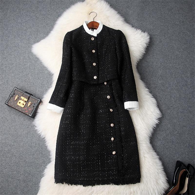 Fashion Designers Runway Dress 2018 Women Winter Long Sleeve Tweed Woolen Jacket Tank Dress Vintage Autumn