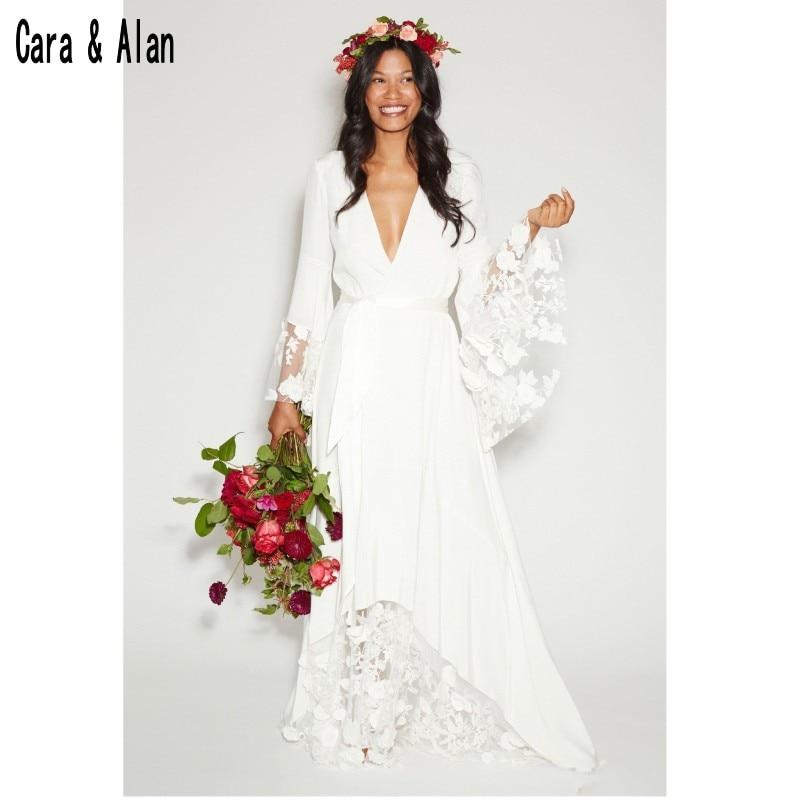 2019 Counrtry Bohemian Wedding Dresses Long Sleeves Deep V Neck