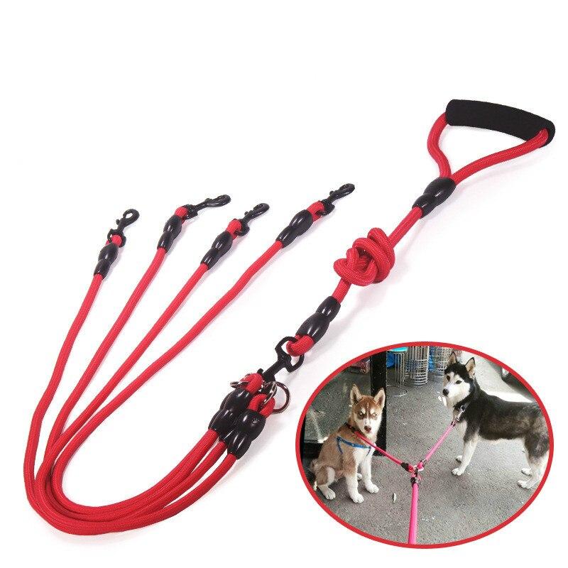 Nylon Due Tre quattro cani Guinzaglio Staccabile Pet Piombo Arrampicata schiuma maniglia 1 guinzaglio per 2 o 3 o 4 Cani Piccolo Cane di trazione corda