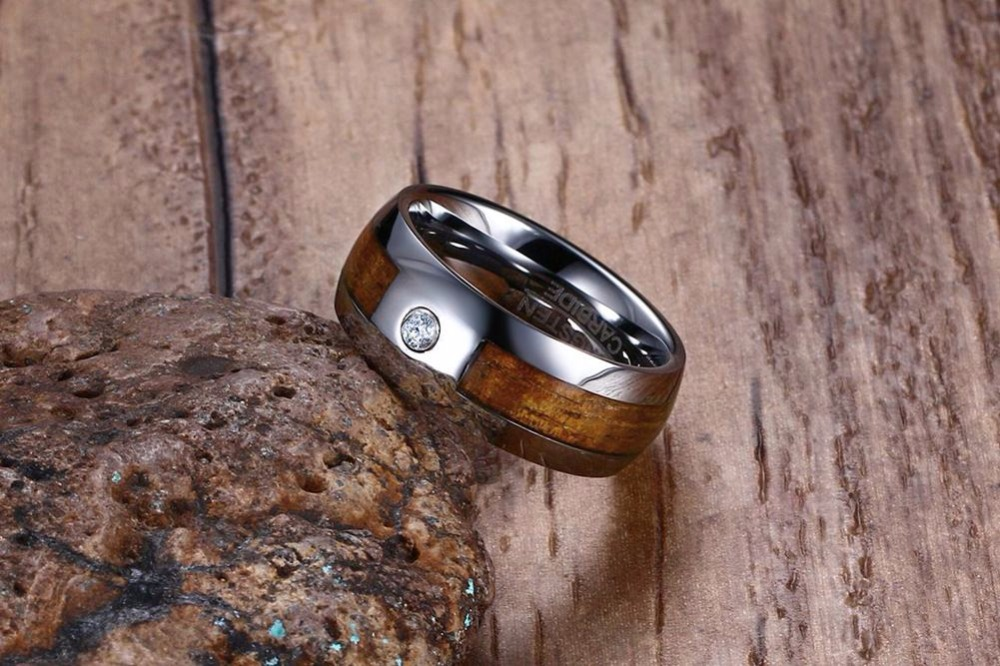 Mens Tungsten Carbide Rings Wood Grain CZ Inlay Tungsten Wedding Band Fashion Jewelry 110