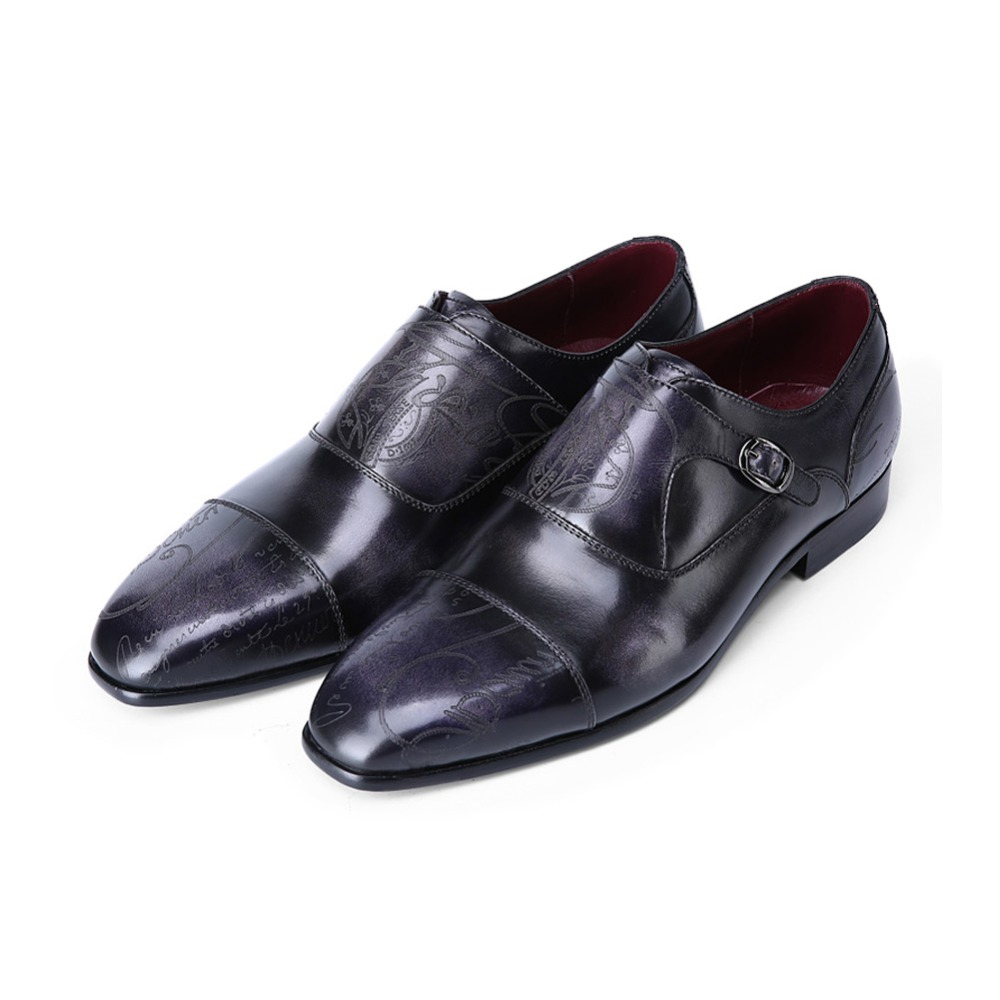 TERSE_Luxury mens leather shoes goodyear welted genuine leather dress shoes blue grey formal monk shoes custom service