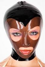 2016 New Arrival Bodystocking Bodysuit Latex Mask Hood Fetish Rubber black brown spliced Women Sexy Hoods Plus Size Hot Sale