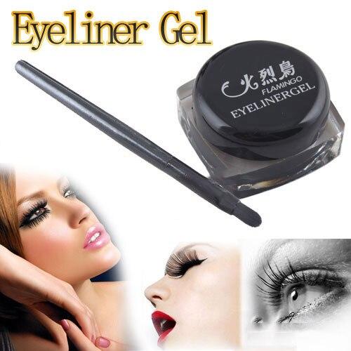 Black Waterproof Eye Liner Eyeliner Gel Makeup Cosmetic + Brush