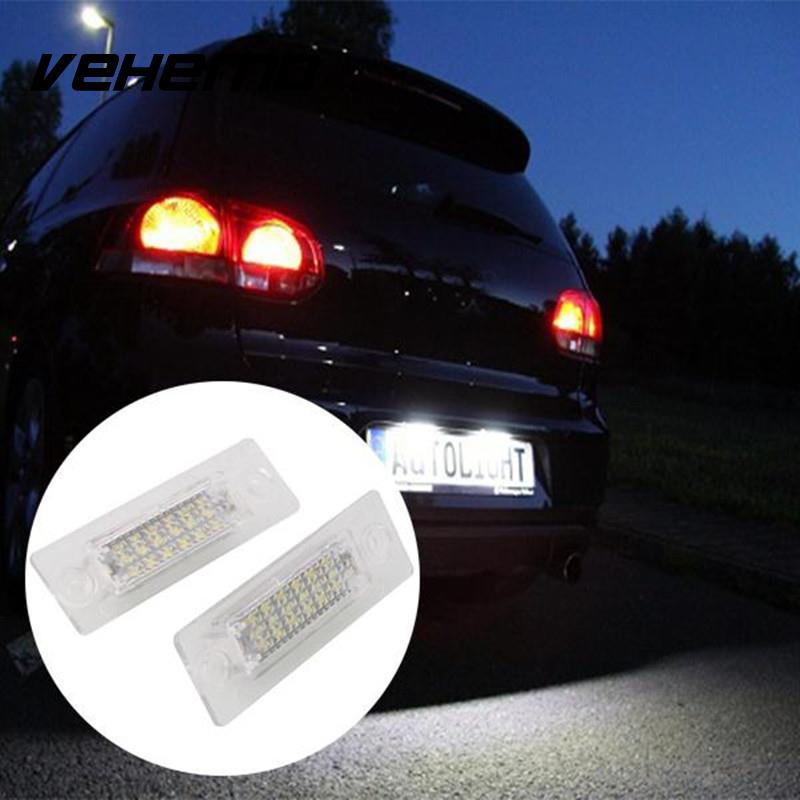 Vehemo 2Pcs Car 18 LED Number License Plate Light Lamp No Error For VW Touran 2003-2010 For Passat Combi/Variant B6 5D 2006-2008 2pcs car styling auto no error under mirror led puddle light lamp for volkswagen vw golf mk6 gti touran 2011 white accessories
