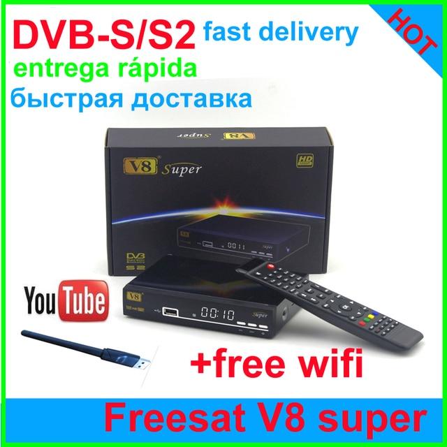 1PCS[Genuine]receptor satelite freesat v8 super support Cccam digital Satellite receiver full 1080p3g newcamd scart USB WIFI