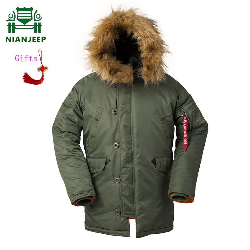 NIANJEEP US Air Force Pilot Ma1 Bomber Flight Jacket Men Winter N3B Jacket Men Long Coat Military Fur Hood Warm Trench Tactical