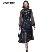 fashion woman spring dress quality runway midi dress stars moons embroidered a line party dress female elegant dress